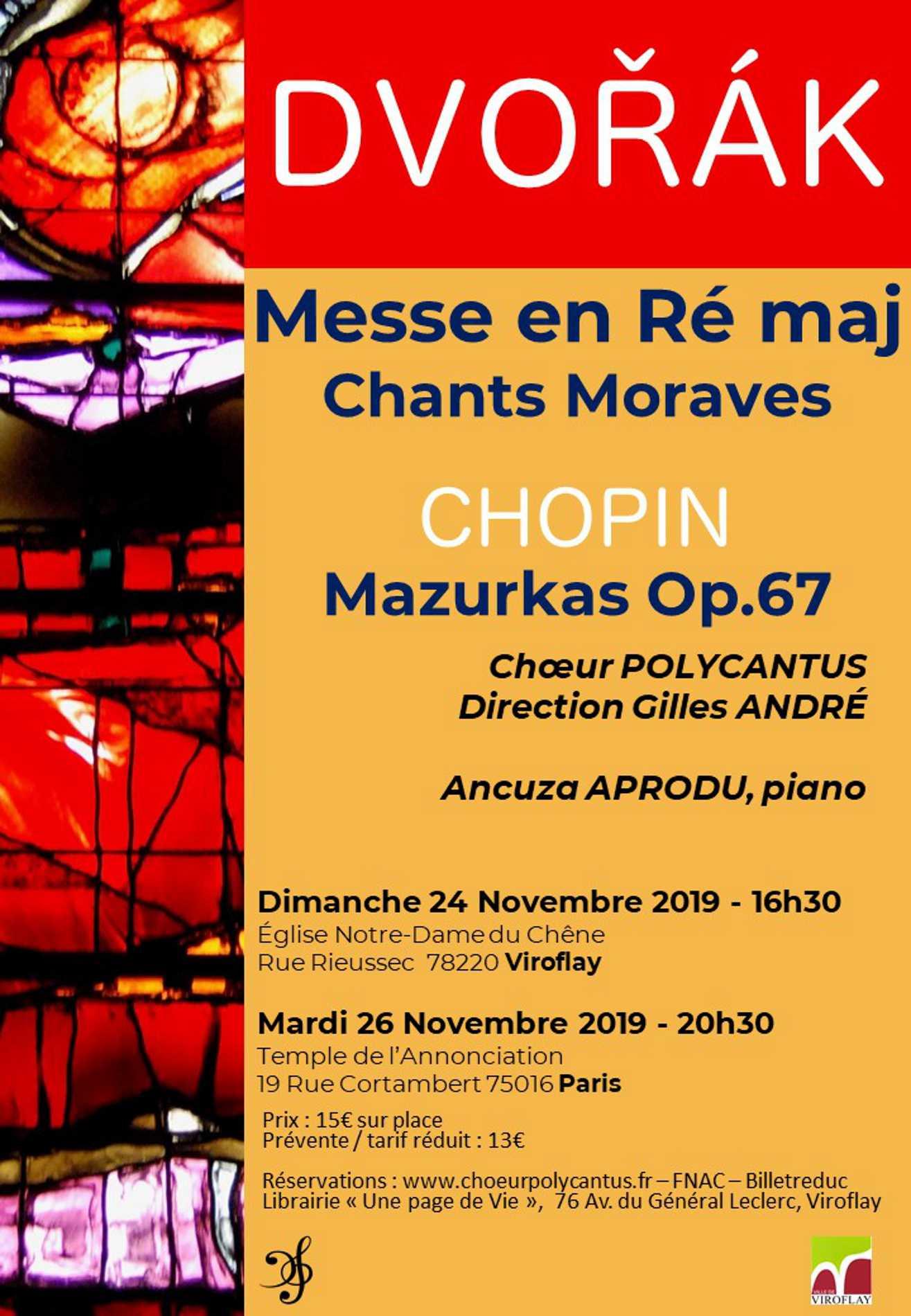 Concert messe en ré Dvorak - Viroflay et Paris