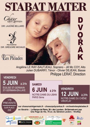 Concerts Stabat Mater Dvorak en Juin 2020 Saint-Germain - Paris - Viroflay